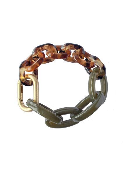 L'histoire de sophie Schakel armband acrylaat bruingroen