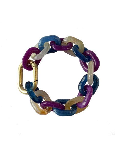 L'histoire de sophie Schakel armband acrylaat blauwpaarsnatuur