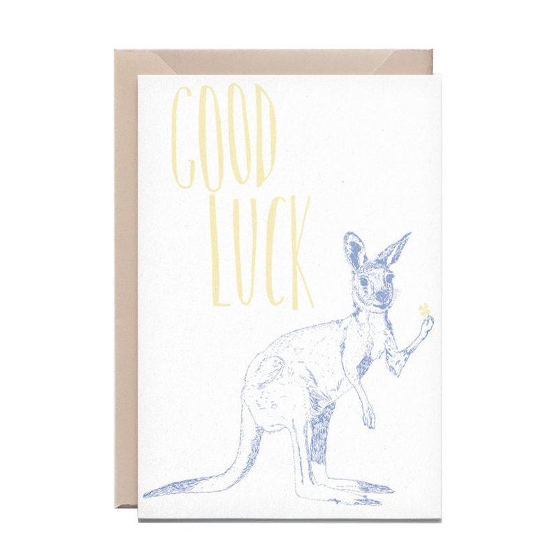 Wenskaart kangaroo good luck