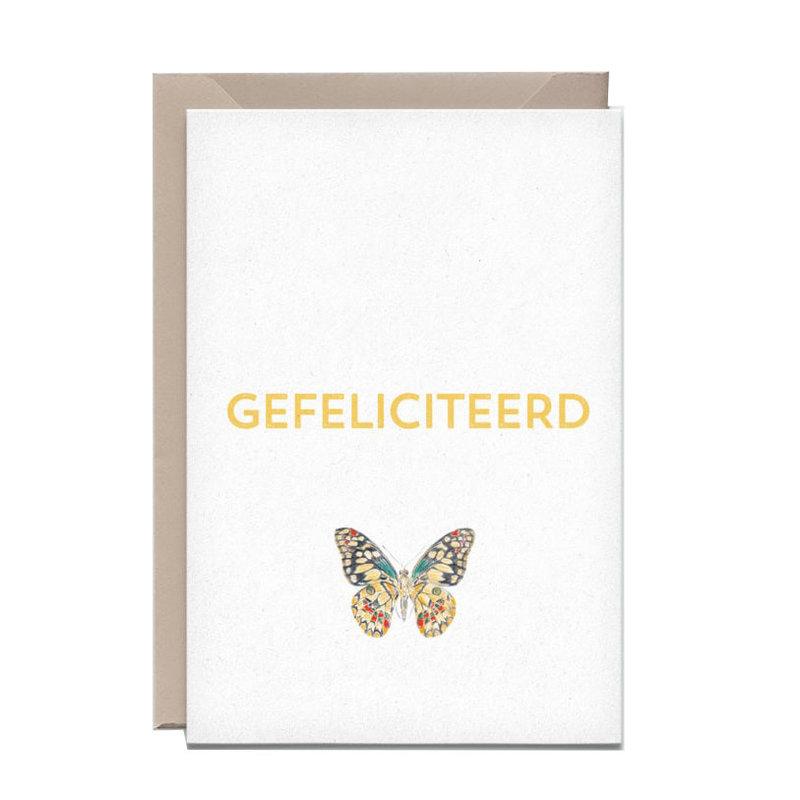 Kathings Wenskaart vlinder gefeliciteerd
