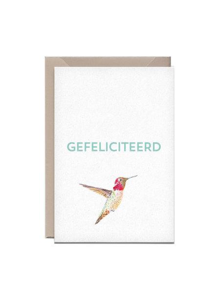 Kathings Wenskaart kolibrie gefeliciteerd
