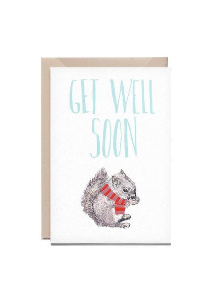 Kathings Wenskaart squirrel get well soon