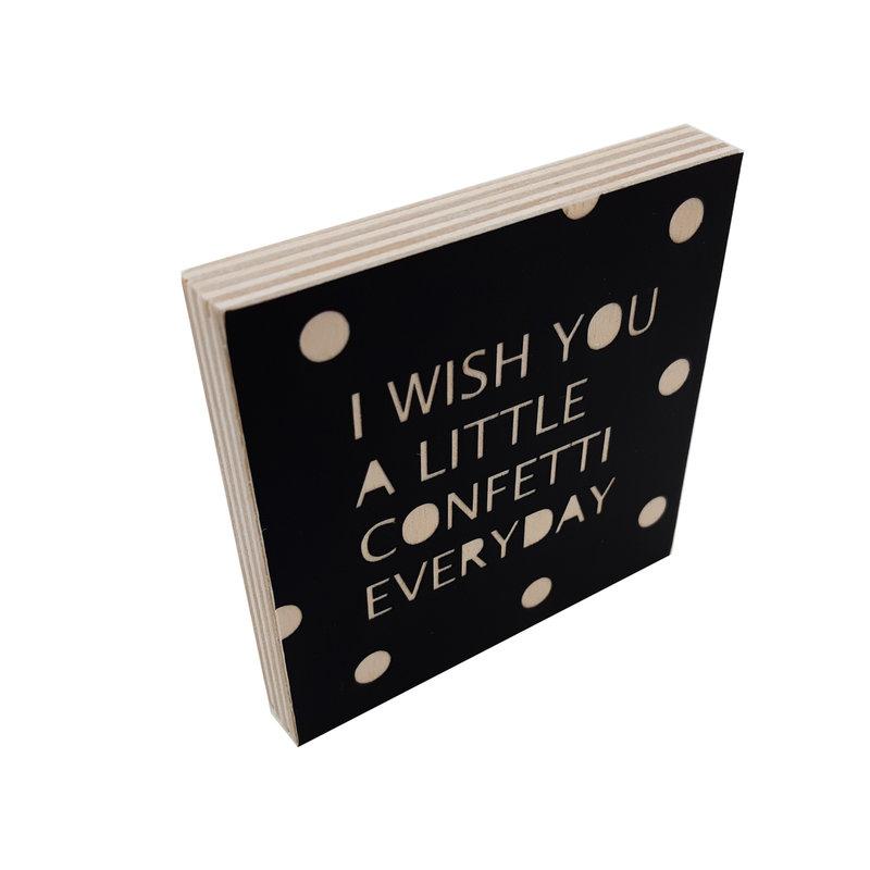 Woodblocks I wish you confetti zwart