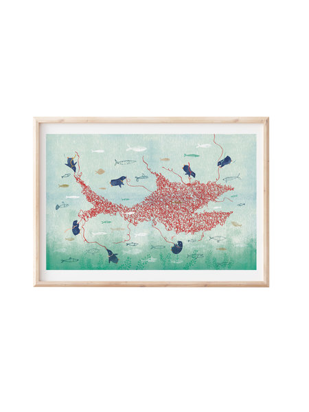 Francoise Beck Artprint 30x45 pinguin knoop