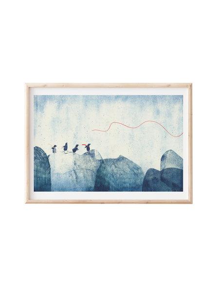 Francoise Beck Artprint 30x45 pinguins berg
