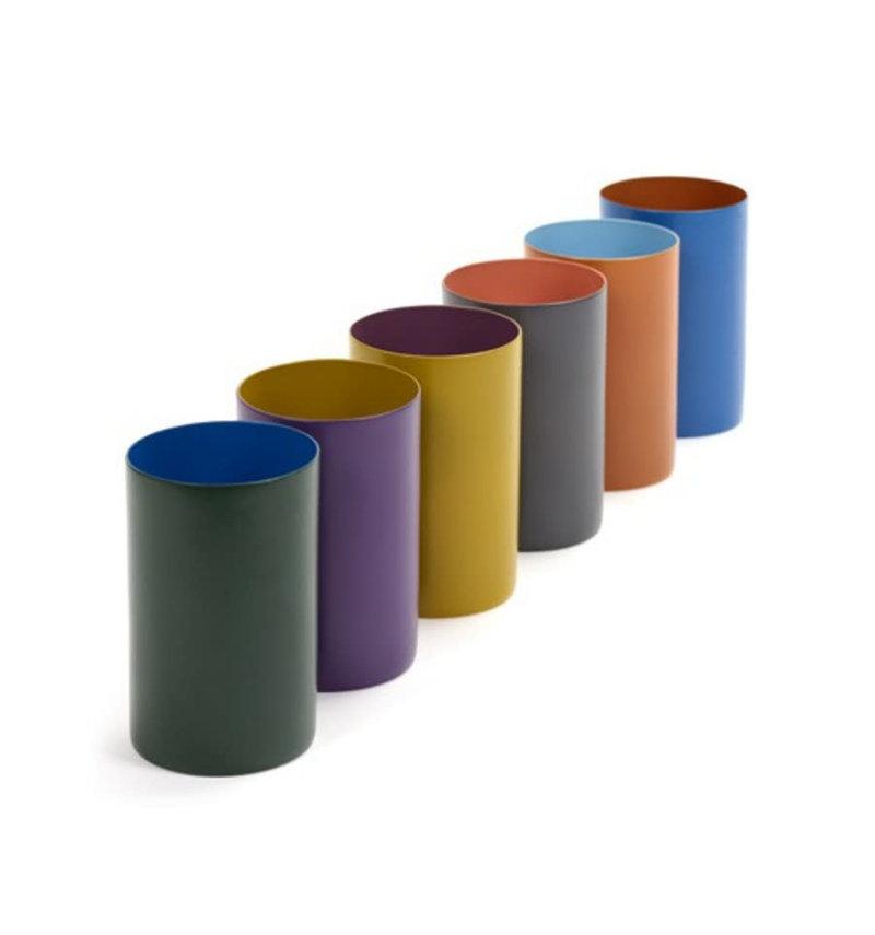 Marie Michielsen Theelichthouder keramiek multicolor hoog h10 d6,5 cm