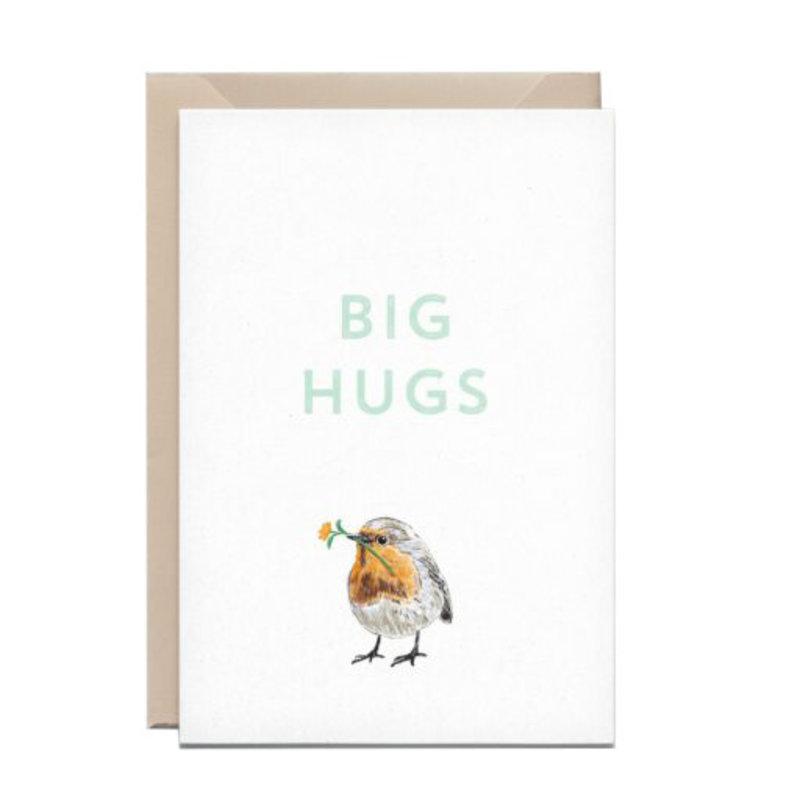 Kathings Wenskaart robin roodborstje big hugs