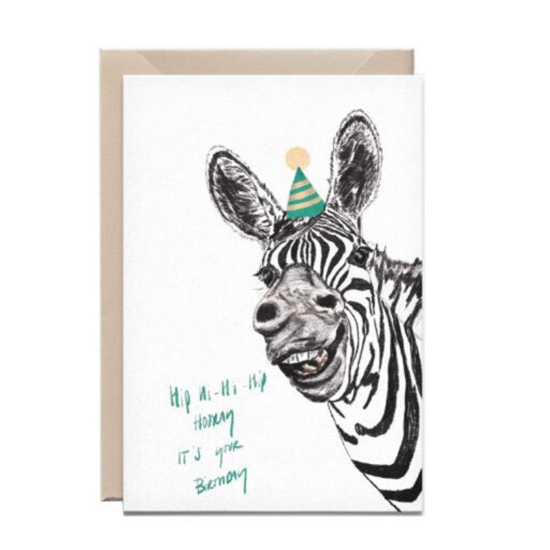 Kathings Wenskaart zebra hip hi hi hip