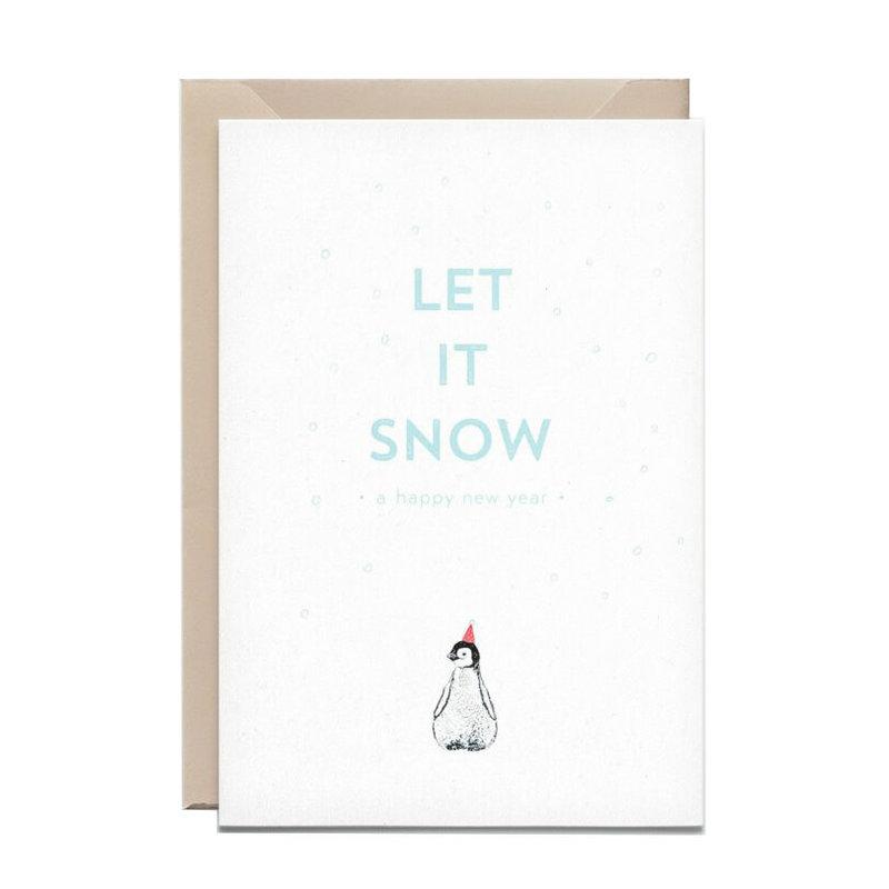 Kathings Wenskaart let it snow penguin