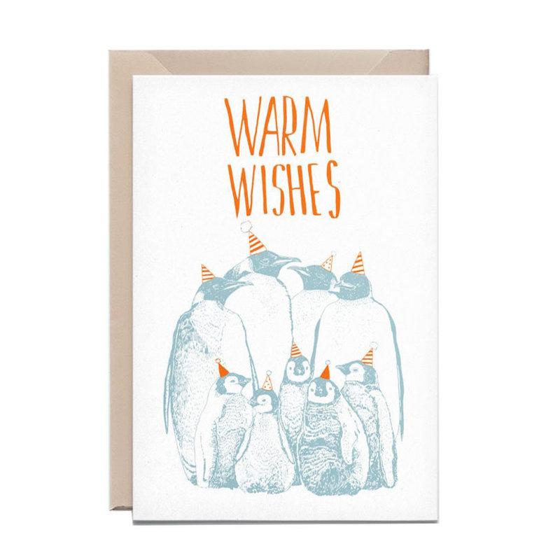 Kathings Wenskaart penguins warm wishes