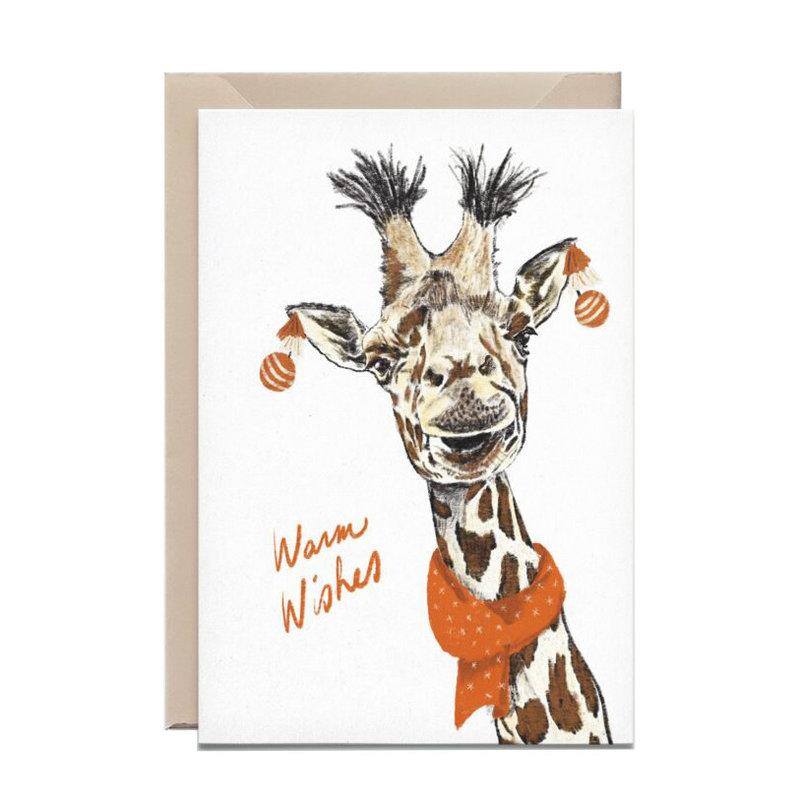 Kathings Wenskaart giraffe warm wishes