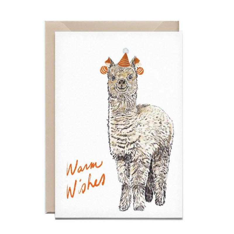 Kathings Wenskaart alpaca big warm wishes