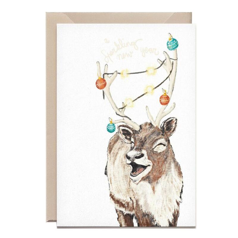 Kathings Wenskaart reindeer sparkling new year