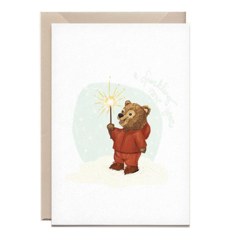 Kathings Wenskaart bear cub sparkling new year