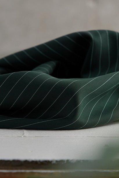 Pinstripe Twill - Deep Green