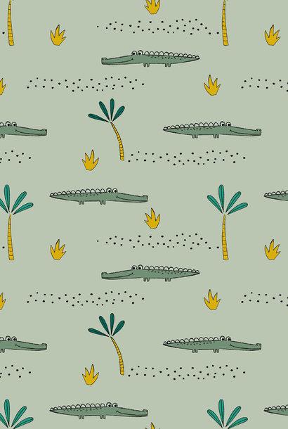 Tricot GOTS - Crocodile - Mint