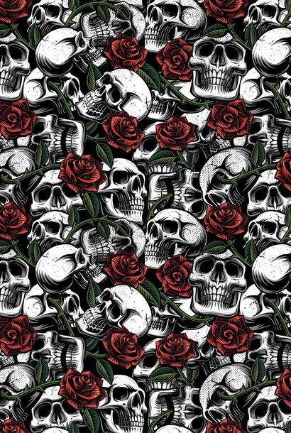 Poplin - Skulls With Roses - White