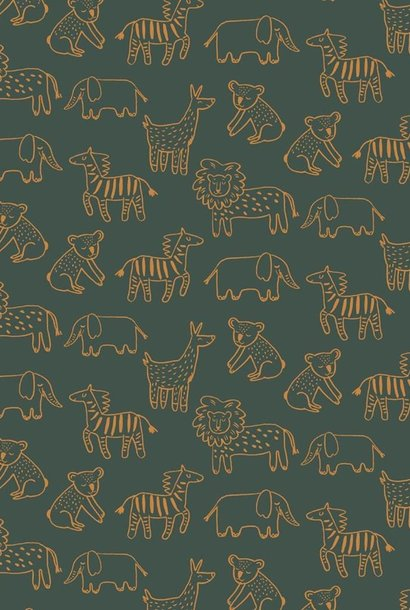 Soft Sweat GOTS - Happy Animals - Dark Green