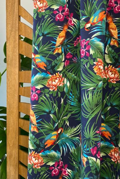 Katoen (stretch) - Tropische papegaaien