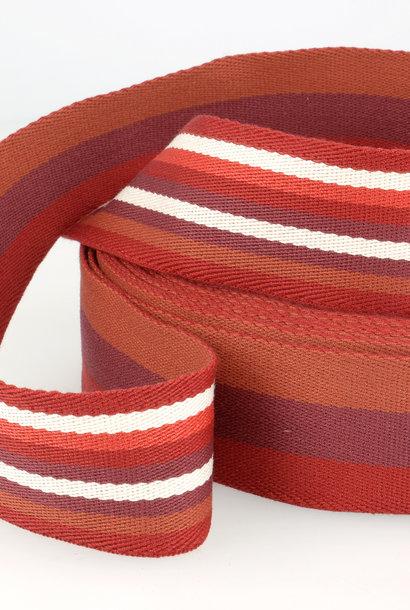 Tassenband (gestreept) -  Bordeaux