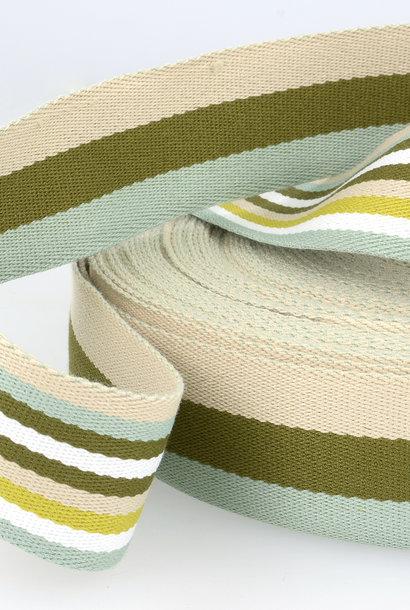 Tassenband (gestreept) - Olijfgroen