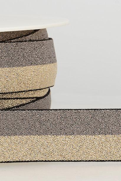 Taille-elastiek (metallic) - Taupe/Goud
