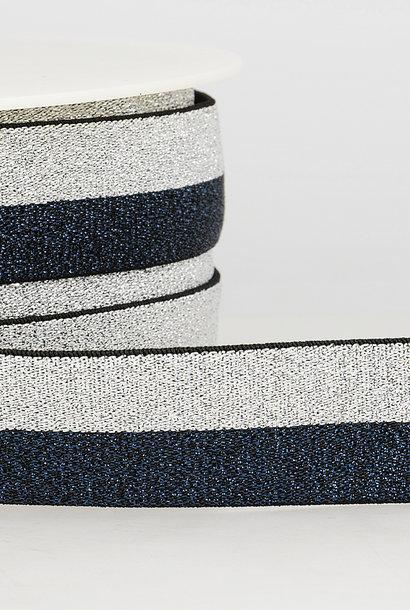 Taille-elastiek (metallic) - Zilver/Marine