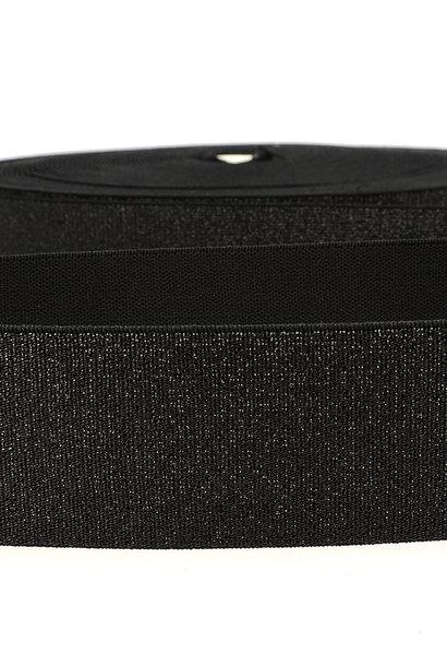 Taille-elastiek (metallic) - Zwart