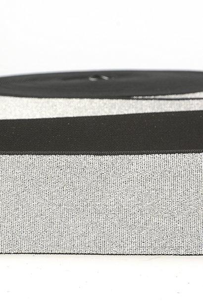 Taille-elastiek (metallic) - Zilver