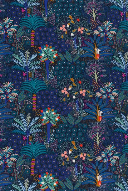 Tricot - Tropical Forest - Donkerblauw