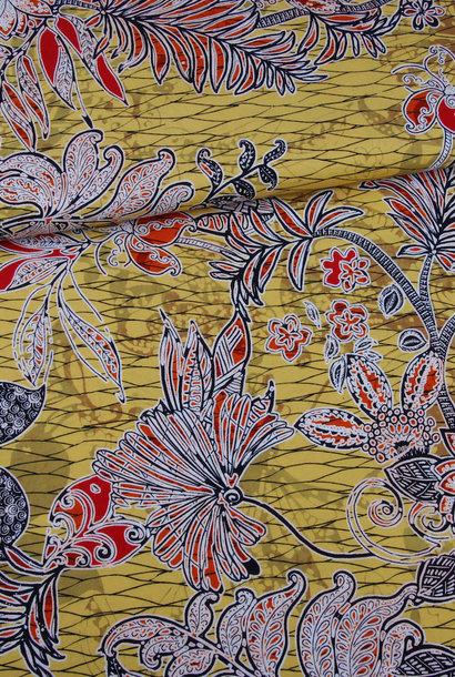 Viscose - Etnische print op geel