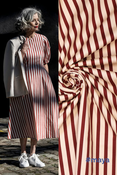 Katoen (stretch) - Maya - Red/Off White