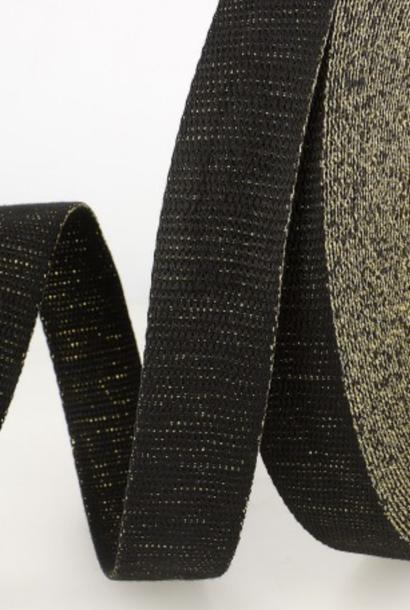Tassenband Metallic - Zwart/goud