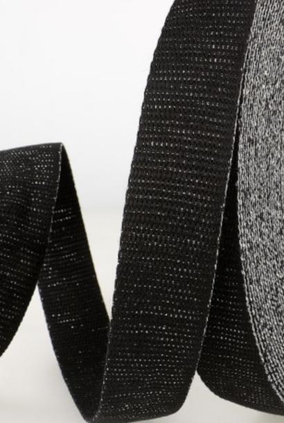 Tassenband Metallic - Zwart/zilver