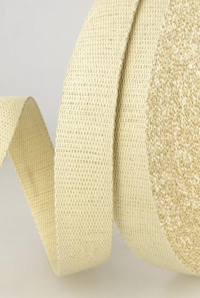 Tassenband Metallic - Ecru/goud