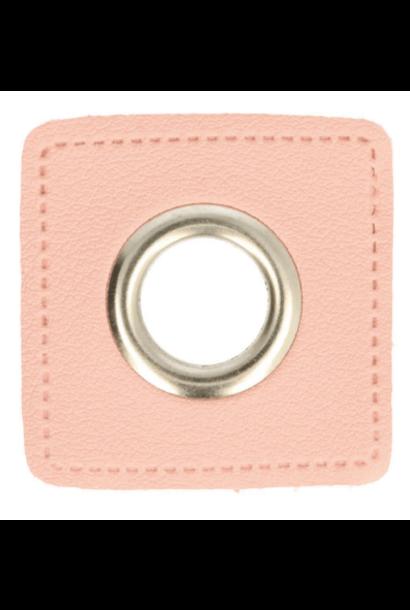 Nestels (nikkel) - 8mm - Roze skai-leer
