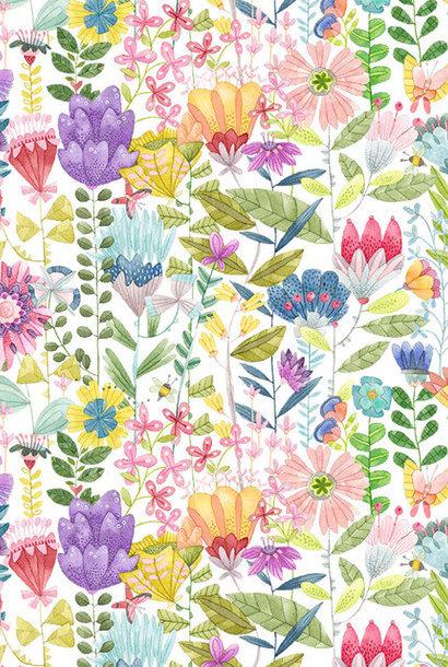 Katoen - White Fanciful Flowers