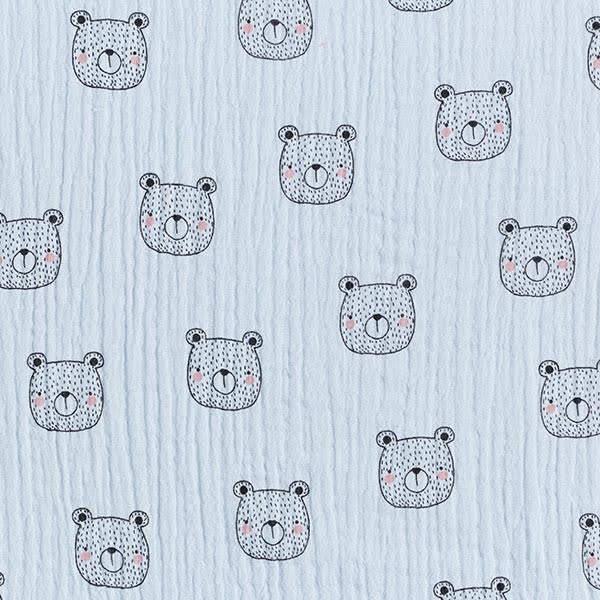 Double Gauze GOTS - Bear Face - Lichtblauw-1