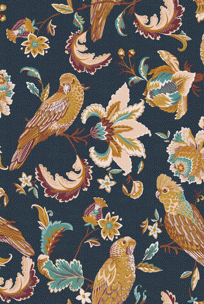Popeline GOTS - Tropische vogels