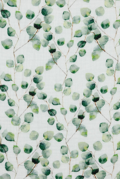 Double Gauze GOTS - Eucalyptus - Wit