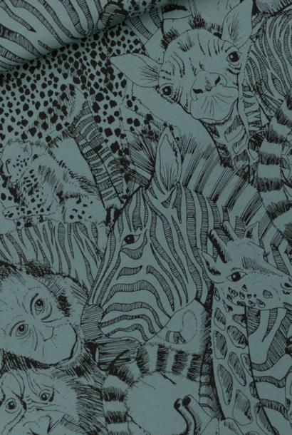 French Terry - Wild Animals - Noord-Atlantisch Blauw