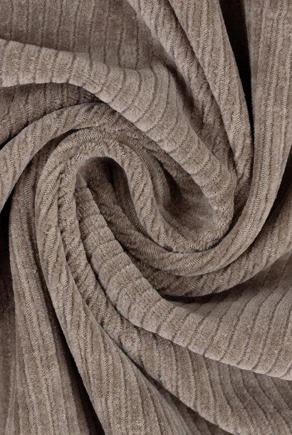Ribfluweel (stretch) - Taupe