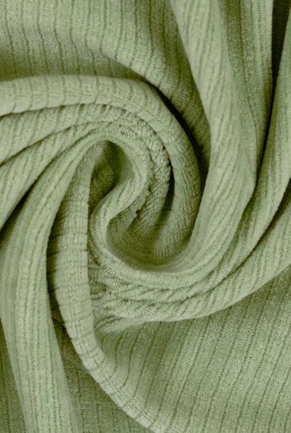 Ribfluweel (stretch) - Watergroen