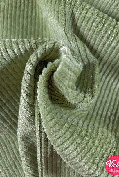 Ribfluweel (stretch) - Mosgroen