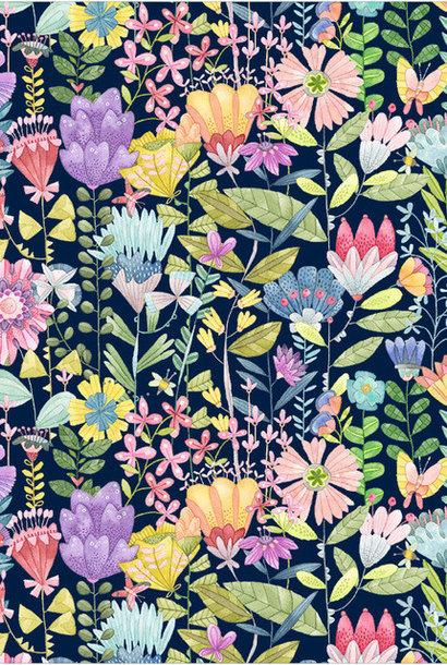 Katoen - Navy Fanciful Flowers