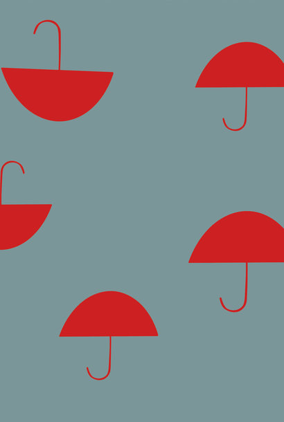 Soft French Terry - Red Umbrella