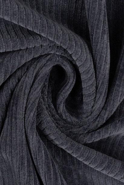 Ribfluweel (stretch) - Donkerblauw