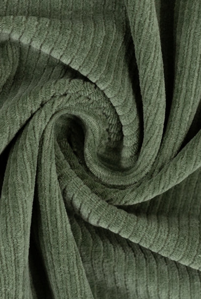 Ribfluweel (stretch) - Kaki