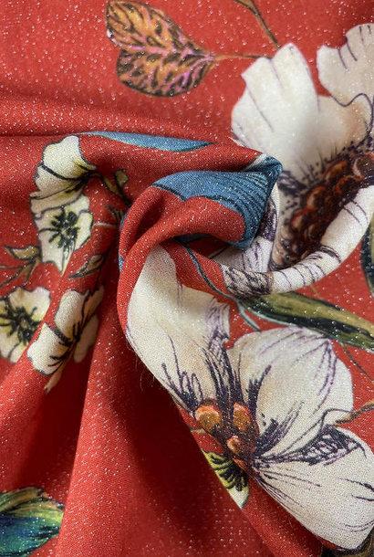 Viscose - Terracotta Flowers