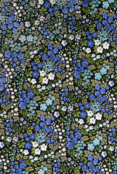 Popeline - Blauwe bloementuin